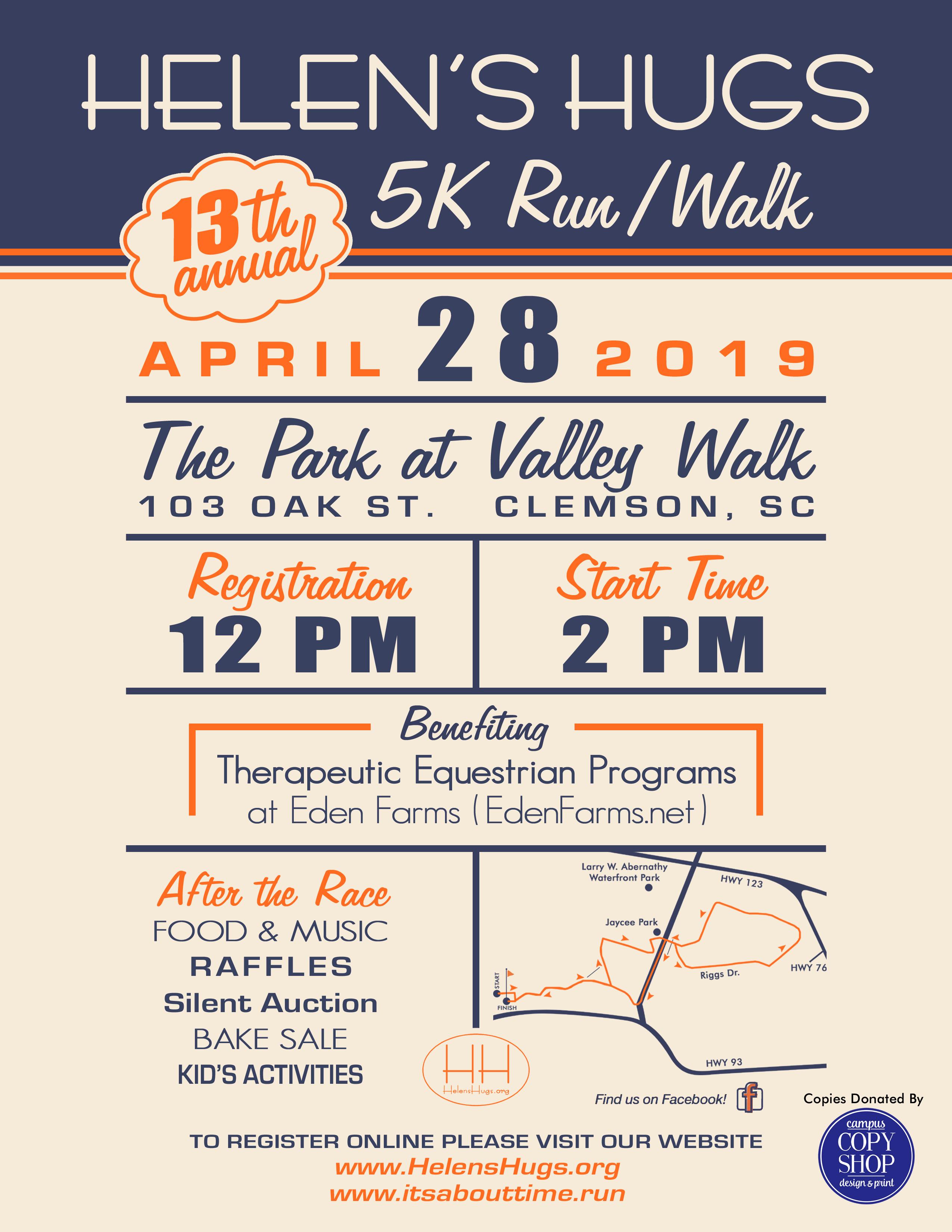 Helen's Hugs 5K Run/Walk Flyer